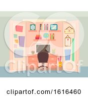 Office Closet Organize Interior Illustration