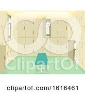 Poster, Art Print Of School Changing Room Interior Illustration
