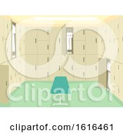 School Changing Room Interior Illustration