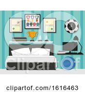 Sporty Bedroom Interior Illustration