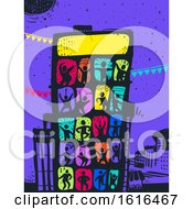Colored People Building Party Illustration