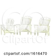 Clipart Of Three Adirondack Chairs In Watercolor Style Royalty Free Vector Illustration