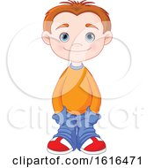 Clipart Of A Blue Eyed Casual Boy In An Orange Sweater Royalty Free Vector Illustration