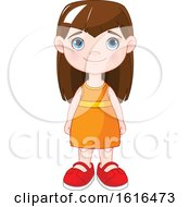 Clipart Of A Brunette Blue Eyed Girl In An Orange Dress Royalty Free Vector Illustration