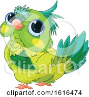 Clipart Of A Cute Green Parrot Looking Back Royalty Free Vector Illustration