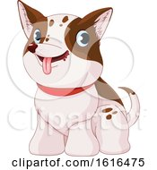 Clipart Of A Cute White And Brown Puppy Dog Royalty Free Vector Illustration