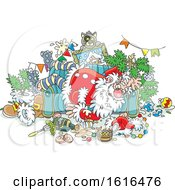 Clipart Of A Cartoon Passed Out Drunk Santa Claus On Christmas Royalty Free Vector Illustration