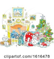 Clipart Of A Passed Out Santa On Christmas Royalty Free Vector Illustration