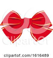 Clipart Of A Christmas Gift Bow Royalty Free Vector Illustration