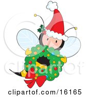 Cute Female Honey Bee Wearing A Santa Hat With Ivy And Flying With A Christmas Wreath