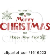 Clipart Of A Merry Christmas And Happy New Year Greeting Royalty Free Vector Illustration