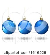 3d Blue Suspended Christmas Baubles