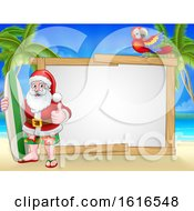 Santa Claus Surf Beach Christmas Background Sign