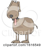 Clipart Of A Cartoon Dog With His Tongue Hanging Out Royalty Free Vector Illustration