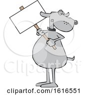 Cartoon Dog Holding A Blank Sign
