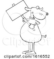 Cartoon Lineart Dog Holding A Blank Sign