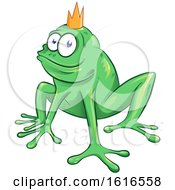 Clipart Of A Green Frog Prince Wearing A Crown Royalty Free Vector Illustration