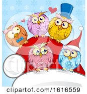 Clipart Of A Santa Hat And Christmas Owls Royalty Free Vector Illustration