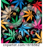 Clipart Of A Colorful Cannabis Marijuana Pot Leaf Background Royalty Free Vector Illustration