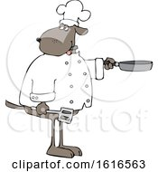Clipart Of A Cartoon Dog Chef Holding A Spatula And Frying Pan Royalty Free Vector Illustration