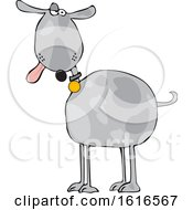Cartoon Goofy Gray Dog With His Tongue Hanging Out
