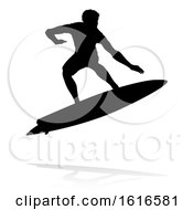 Surfer Silhouette by AtStockIllustration