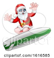 Christmas Santa Claus Surfing And Wearing Sunglasses
