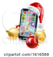 3d Smart Cell Phone With A Santa Hat And Christmas Baubles