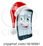 3d Smart Cell Phone Character Wearing A Santa Hat