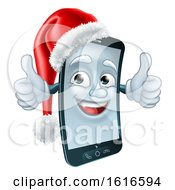 3d Smart Cell Phone Character Wearing A Santa Hat And Holding Two Thumbs Up