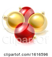 Gold And Red Christmas Bauble Balls Ornaments