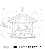 Nativity Christmas Scene Coloring Cartoon by AtStockIllustration