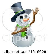 Waving Snowman Wearing A Top Hat