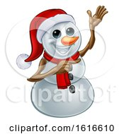Waving Snowman Wearing A Santa Hat