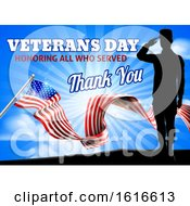 American Flag Veterans Day Soldier Saluting