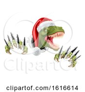 Santa Christmas Hat T Rex Dinosaur by AtStockIllustration