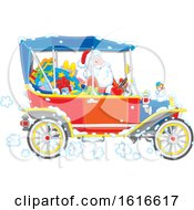 Clipart Of Asnta Driving A Convertible Antique Car Royalty Free Vector Illustration