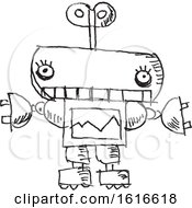 November 8th, 2018: Clipart Of A Black And White Sketched Robot Royalty Free Vector Illustration by yayayoyo