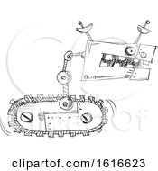 Clipart Of A Black And White Sketched Robot Royalty Free Vector Illustration