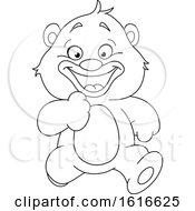 Clipart Of A Black And White Running Teddy Bear Royalty Free Vector Illustration