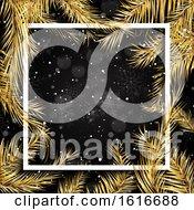 Poster, Art Print Of Golden Christmas Tree Branches Border