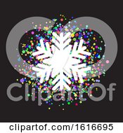 Snowflake On Colourful Confetti Background