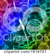 3D Medical Background With Virus Cells On DNA Strand