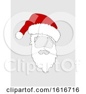 Christmas Hand Drawn Santa Hat And White Beard Cut Out