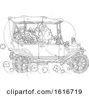 Clipart Of Santa Driving A Convertible Antique Car In Black And White Royalty Free Vector Illustration