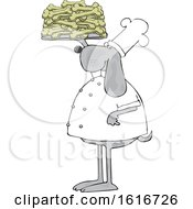 Clipart Of A Cartoon Chef Dog Holding Up A Tray Of Biscuits Royalty Free Vector Illustration