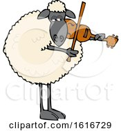 Clipart Of A Cartoon Sheep Playing A Violin Royalty Free Vector Illustration