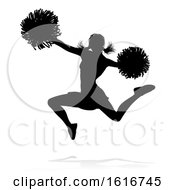 Cheerleader Pom Poms Silhouette by AtStockIllustration