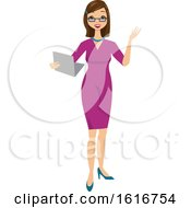 Brunette White Business Woman Holding A Folder