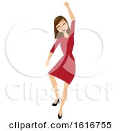 Brunette White Business Woman Cheering And Jumping by peachidesigns